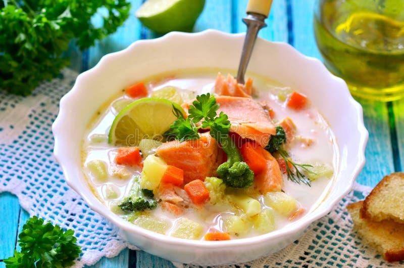 Густой суп с форелью стоковое фото