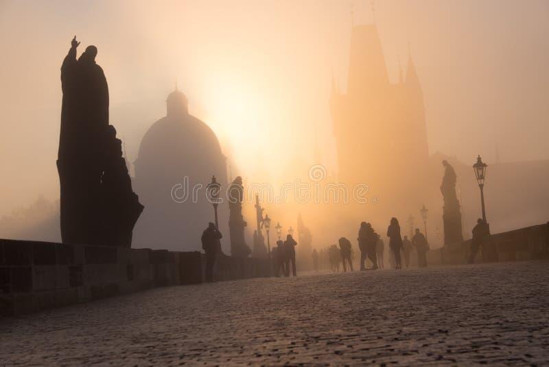 Густой туман вахты зрителей на Карловом мосте стоковая фотография