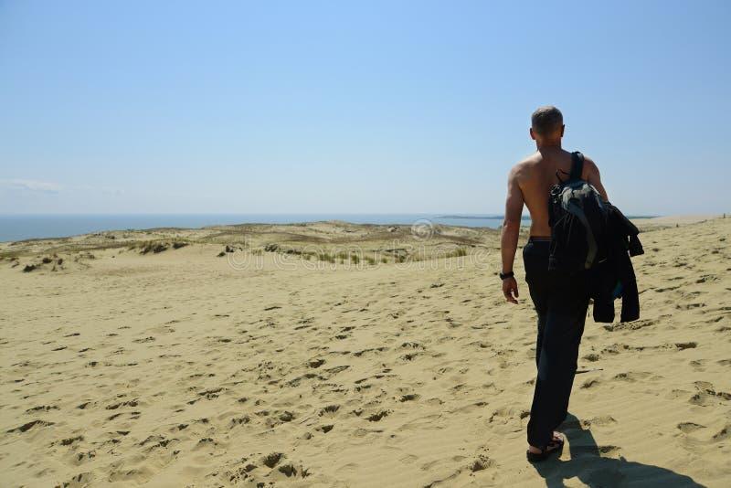 гулять человека пустыни стоковое изображение rf