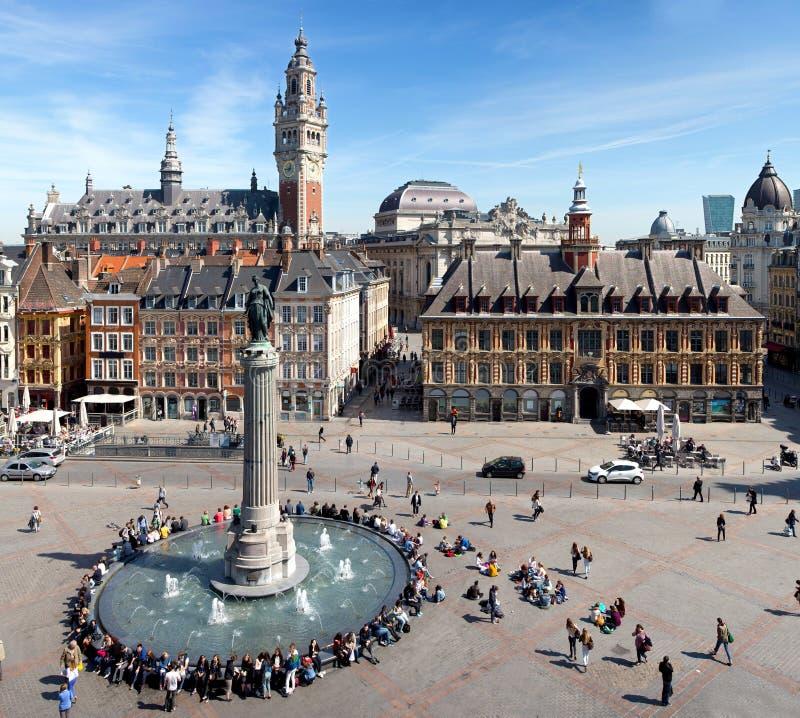 Главная площадь взгляда Лилля от верхней части стоковое изображение