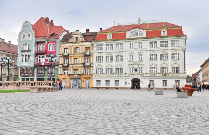 Главная площадь городка Timisoara старого, Румынии стоковые изображения rf