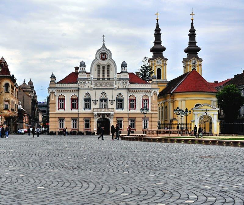 Главная площадь городка Timisoara старого, Румынии стоковые изображения