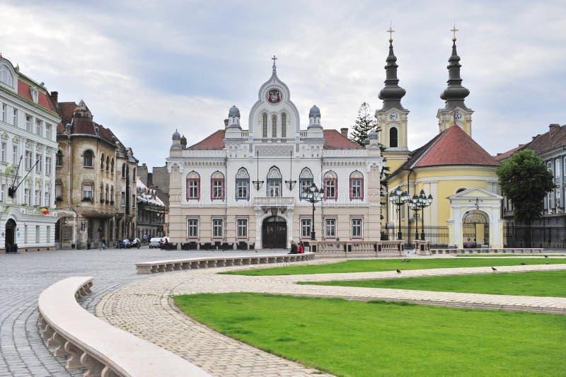 Главная площадь городка Timisoara старого, Румынии стоковое изображение rf