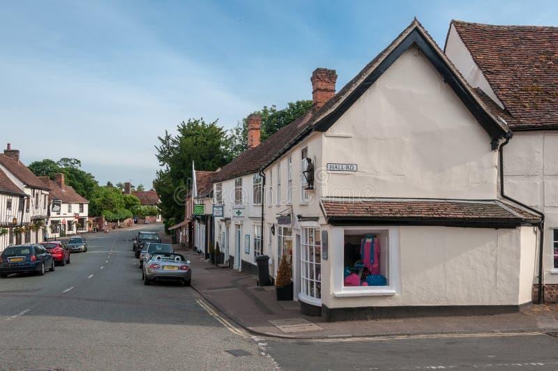Главная улица в Lavenham, суффольке, Великобритании стоковые фото