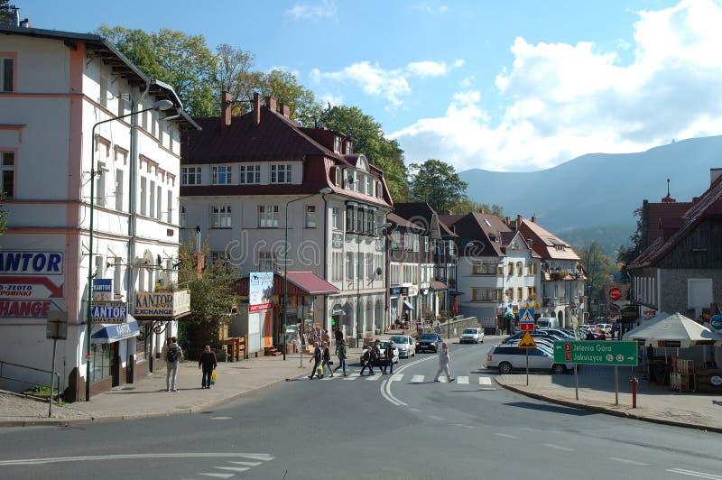 Главная улица в Szklarska Poreba в Польше стоковые фото