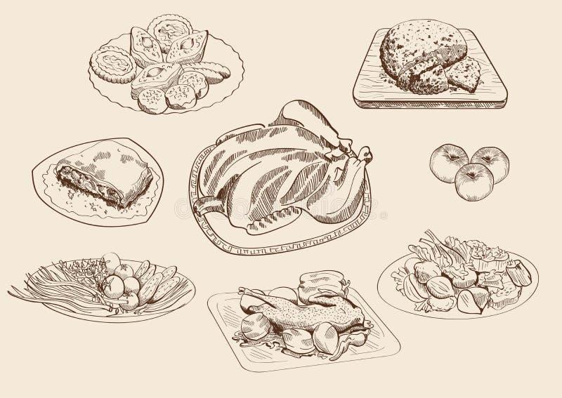 Главные блюда и ингридиенты иллюстрация вектора