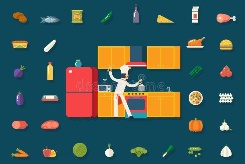 Главные еда кашевара и мебель кухни комнаты блюда бесплатная иллюстрация