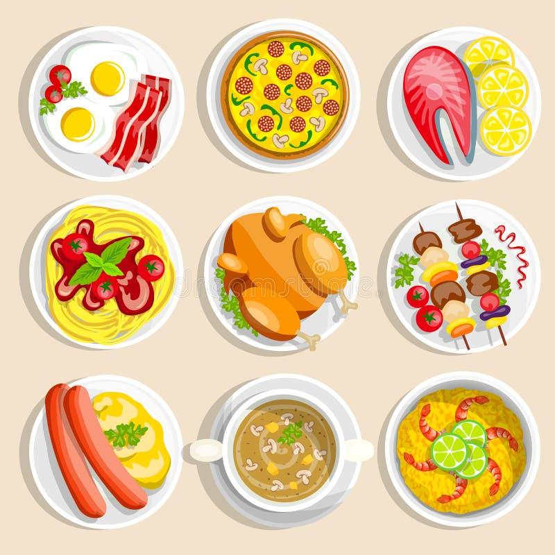 Главные установленные блюда иллюстрация штока