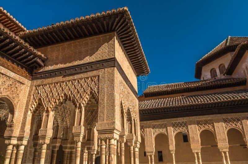 Главный двор Альгамбра в дворце Испании Альгамбра стоковое фото rf