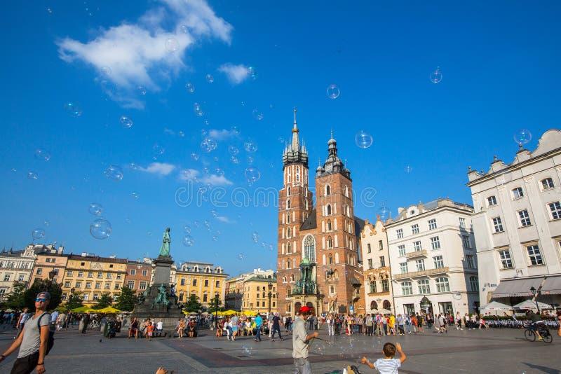 Главным образом рыночная площадь krakow Польша стоковая фотография rf