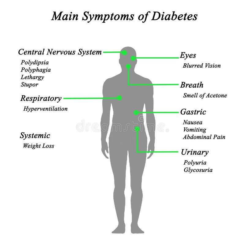 Главным образом симптомы диабета бесплатная иллюстрация