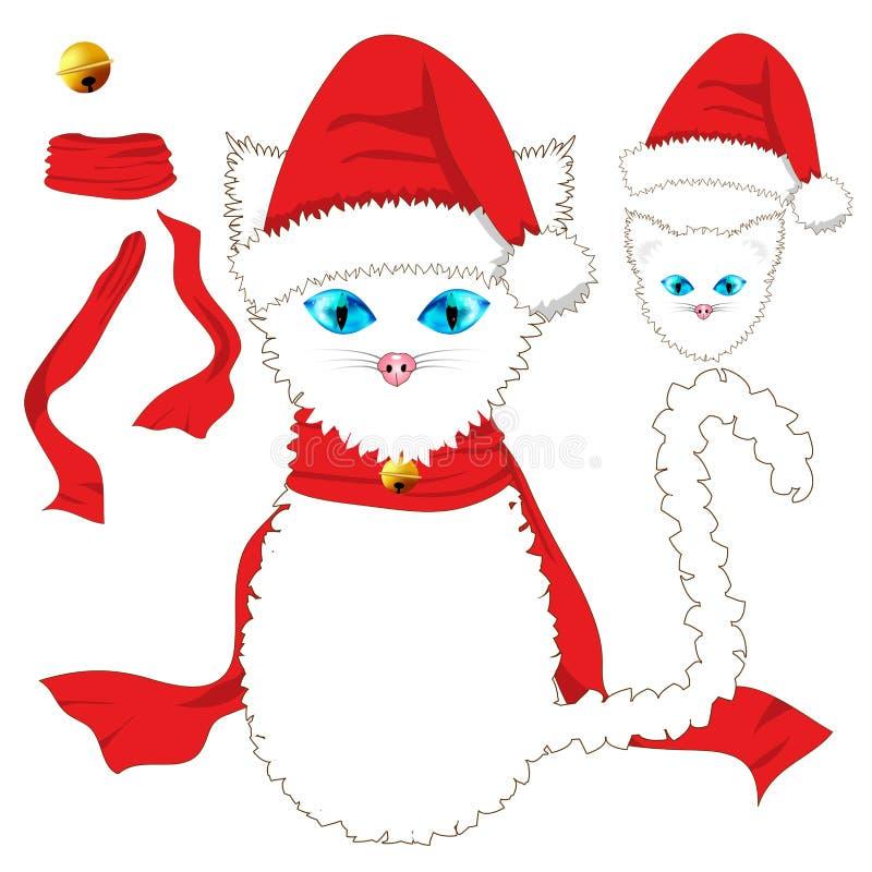 глаза голубого кота Шляпа Санты, красный шарф ленты и золотой шарик колокола звона Рождество иллюстрация штока