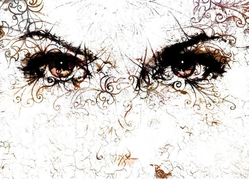 Глаза женщин и влияние и орнаменты хруста на белой предпосылке иллюстрация штока