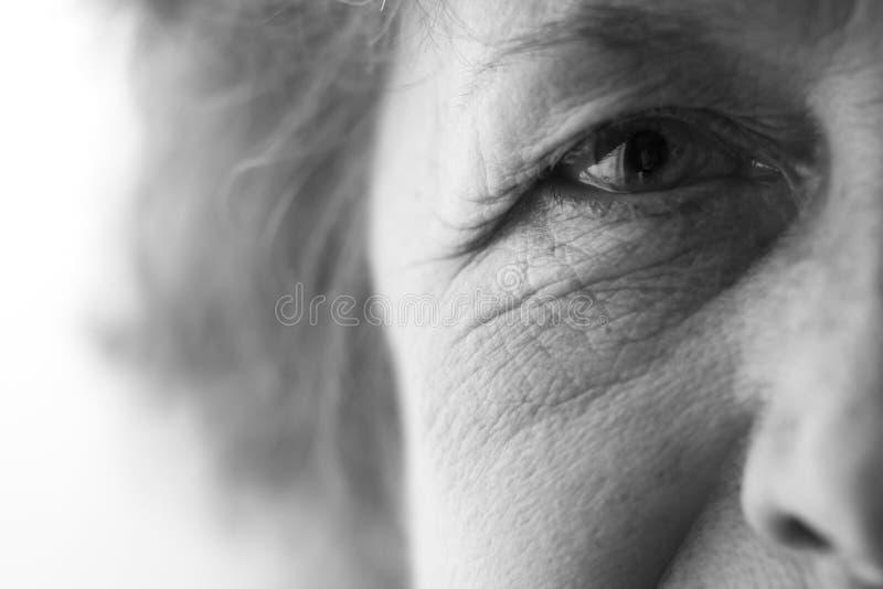 Глаза пожилой женщины стоковое изображение rf