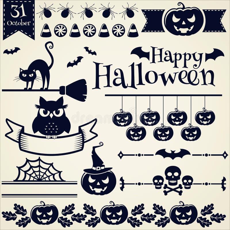 глаза тягчайший halloween элементов конструкции черноты летучих мышей включают ведьму tarantula тыквы фонарика o jack вектор комп иллюстрация вектора