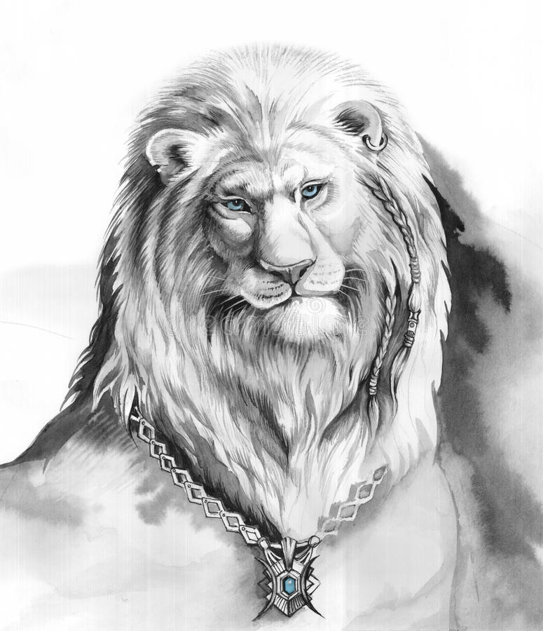 Глаза Lion_blue стоковая фотография