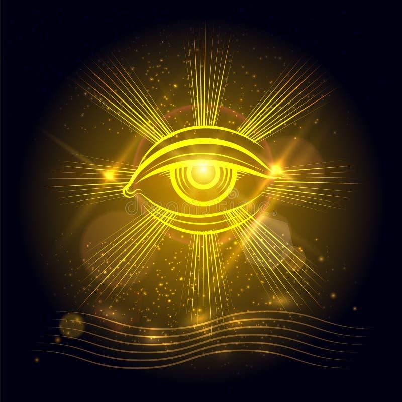Глаз бога Египта на золотой предпосылке бесплатная иллюстрация