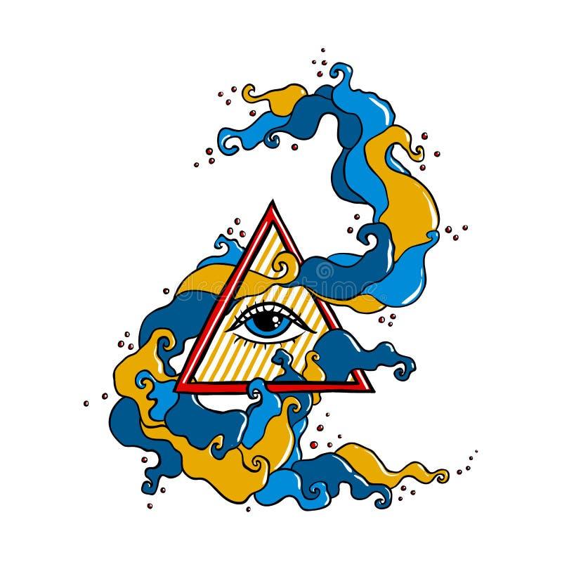 Глаз в пирамиде с красочной свирлью иллюстрация штока