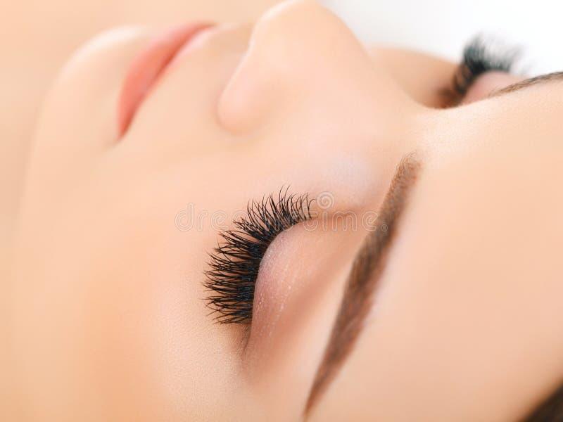 Глаз женщины с длинными ресницами. Расширение ресницы стоковые фотографии rf