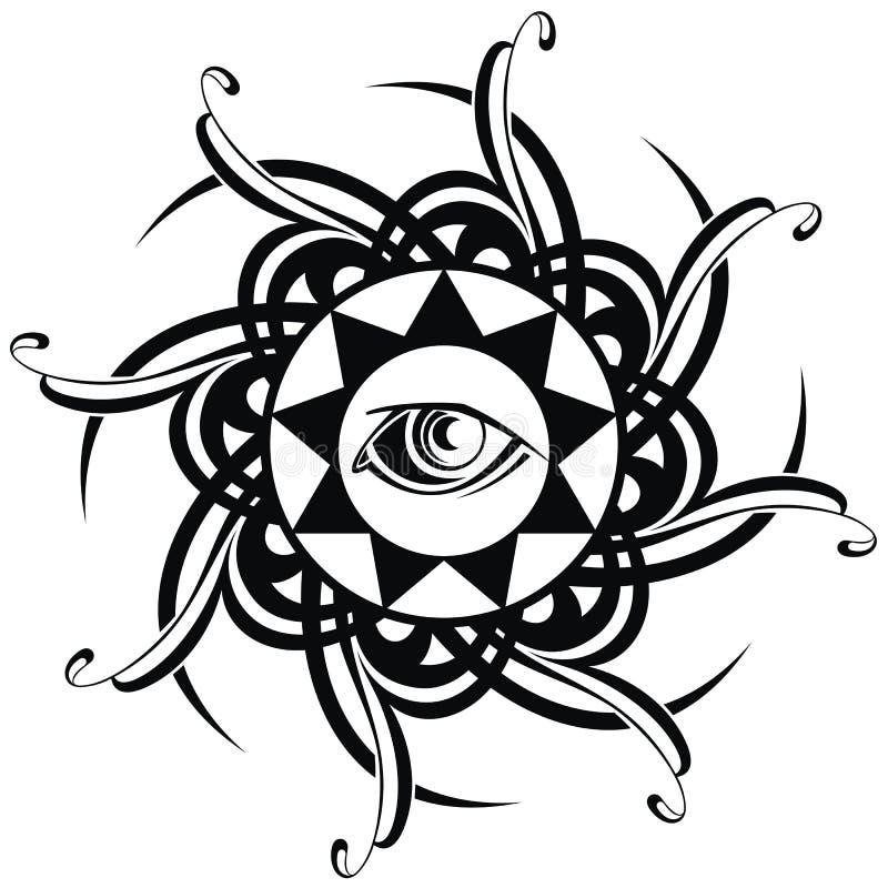 Глаз татуировки иллюстрация штока