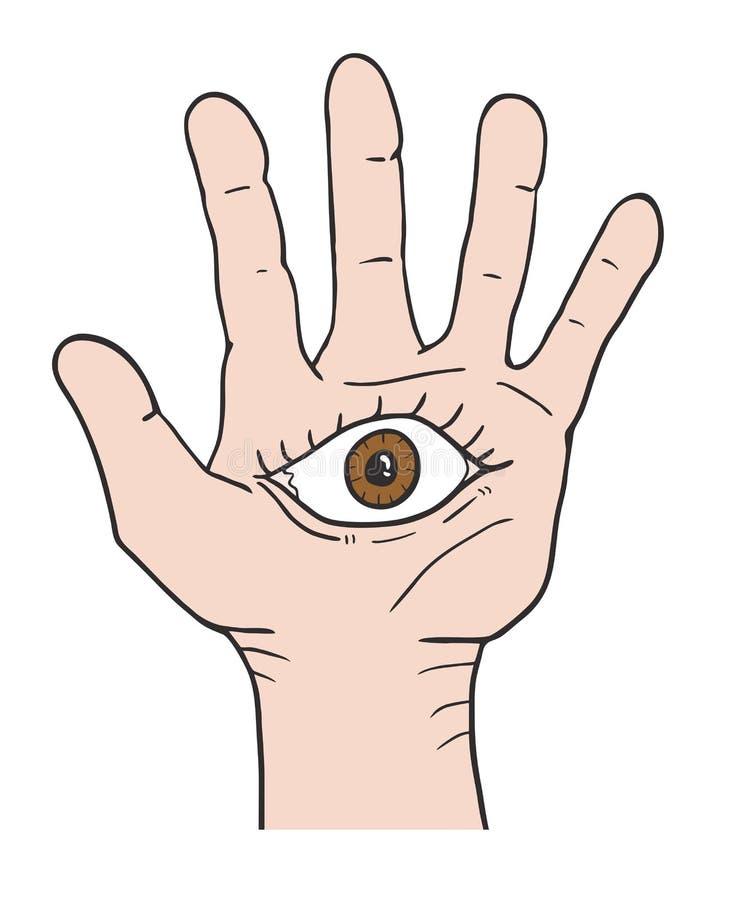 Глаз фантазии в руке иллюстрация штока