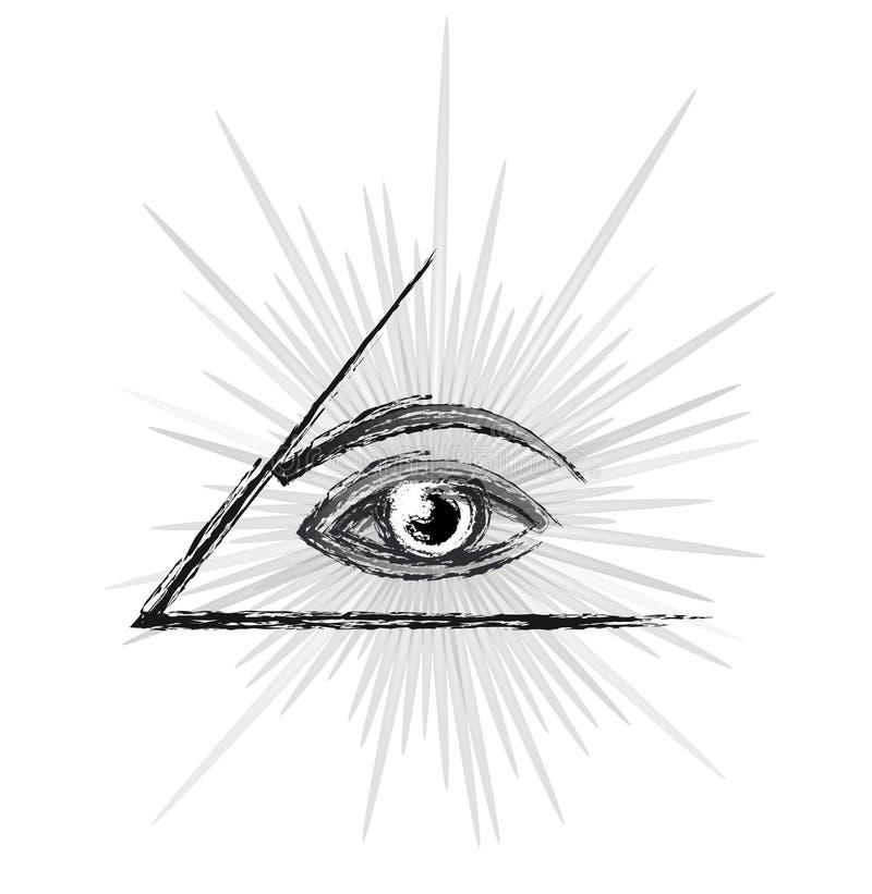 Глаз эскиза providence иллюстрация штока