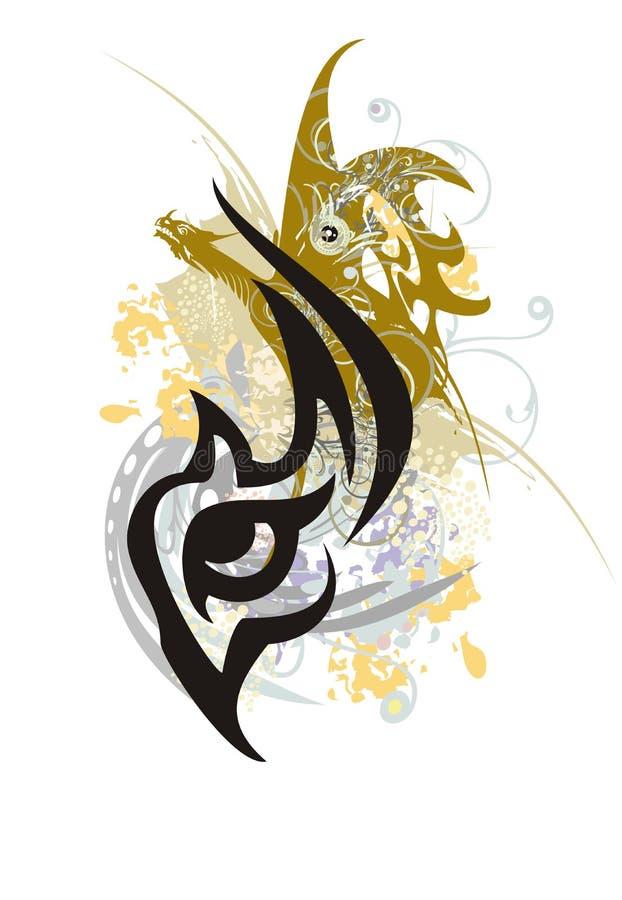 Глаз Grunge стилизованный с, который подогнали драконом иллюстрация штока