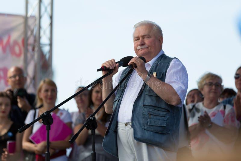 Гданьск, Польша, 22 07 2017 - бывший президент Польши Lech Wal стоковая фотография rf