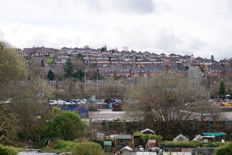 Гладить рукой-на-Trent домах на холме стоковое изображение
