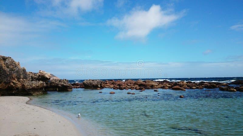 Гладит рукой взгляд пляжа стоковая фотография rf