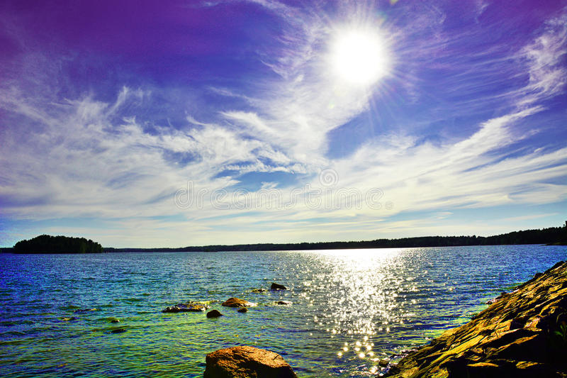 Где небо и море встречают стоковые изображения