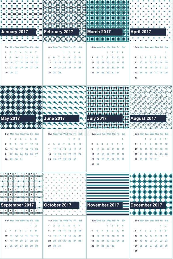 Глина чёрного дерева и lochinvar покрашенные геометрические картины calendar 2016 иллюстрация штока
