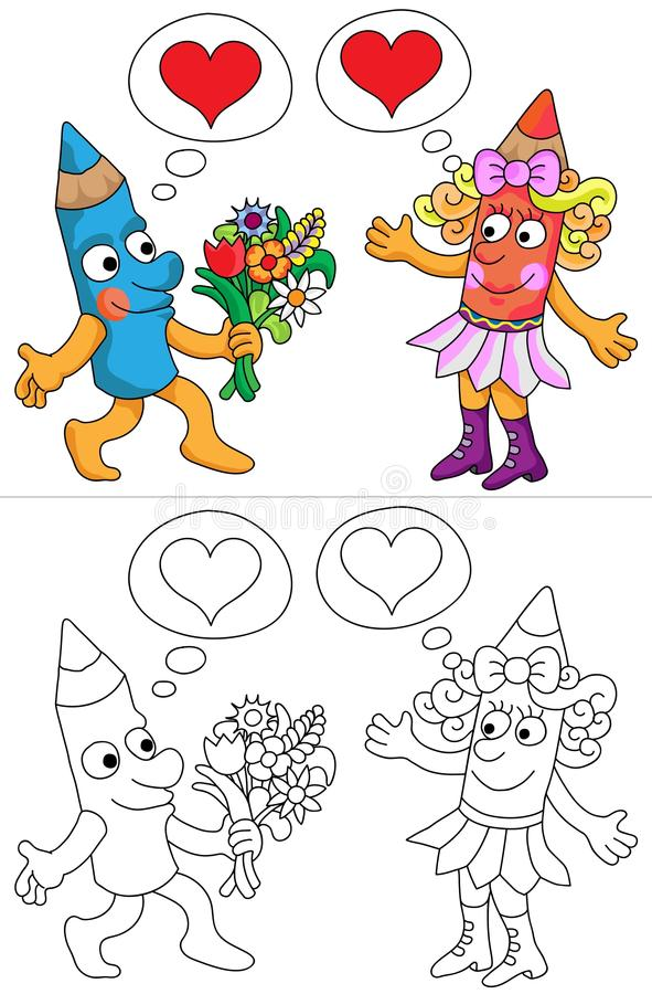 Г-н и Госпожа Карандаш иллюстрация вектора