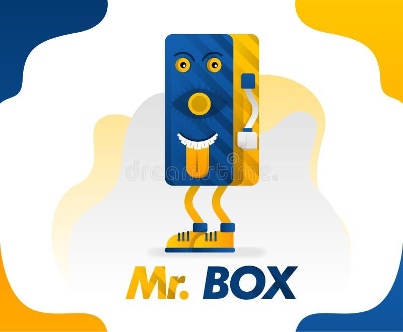 Г-н коробка, чудовище коробки с вставлять вне язык в простом стиле для детей потому что смешно, иллюстрации вектора концепции кон иллюстрация вектора