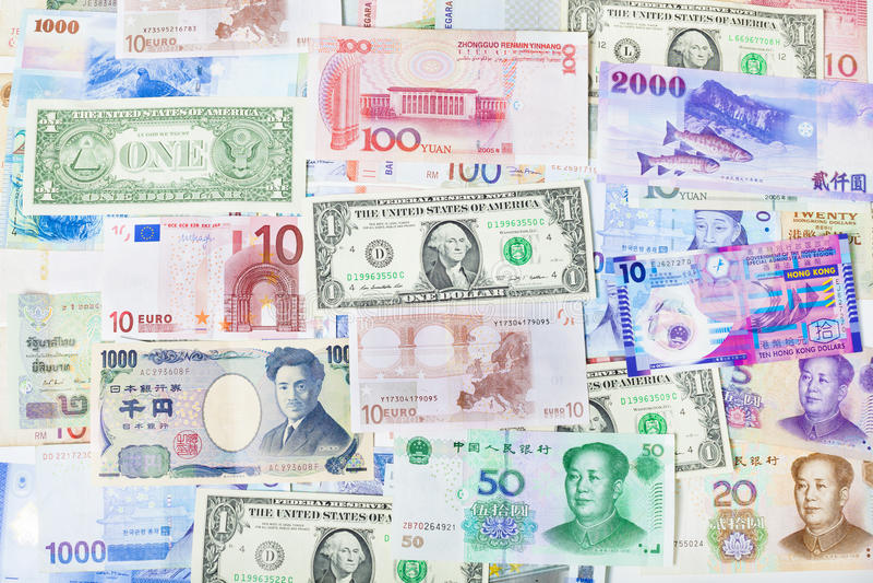 Глобальная бумага, банк, финансы, и фондовая биржа валюты стоковое фото