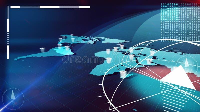 Глобальная карта интернета с компасами, часами, битами иллюстрация штока
