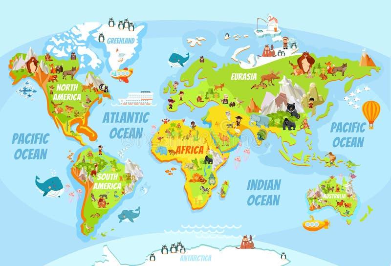 Глобальная карта с животными шаржа иллюстрация вектора