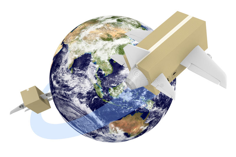 Глобальная концепция доставки коробок летая по всему миру иллюстрация штока