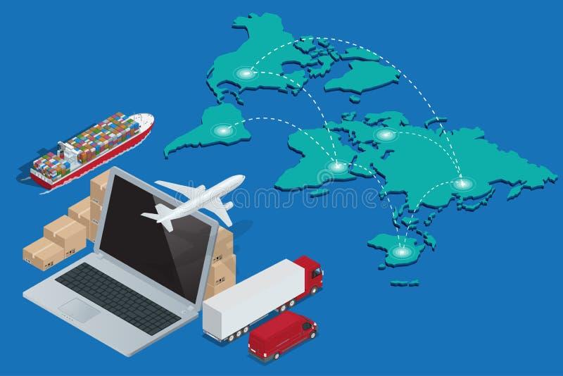 Глобальная концепция сети снабжения зазора таможен доставки железнодорожных перевозок авиационного груза перевозя на грузовиках м иллюстрация вектора