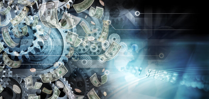 Глобальная предпосылка дела денег Cogs стоковые фото