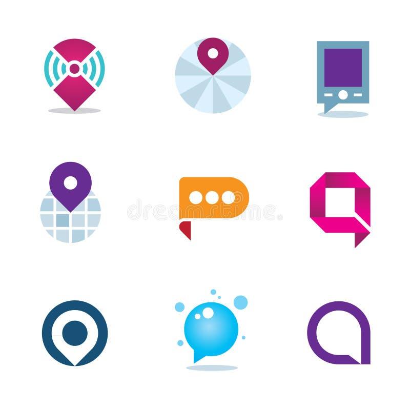 Глобальное интернет-сообщество в домашней системе располагая значок логотипа иллюстрация штока