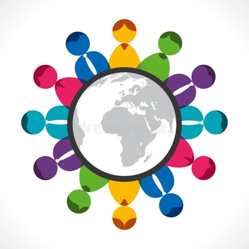 Глобальное обсуждение иллюстрация вектора