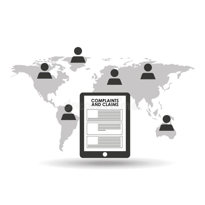 Глобальные жалобы и заявки центра телефонного обслуживания иллюстрация вектора