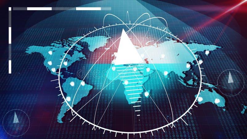 Глобальный атлас интернета с огромным компасом на ем бесплатная иллюстрация