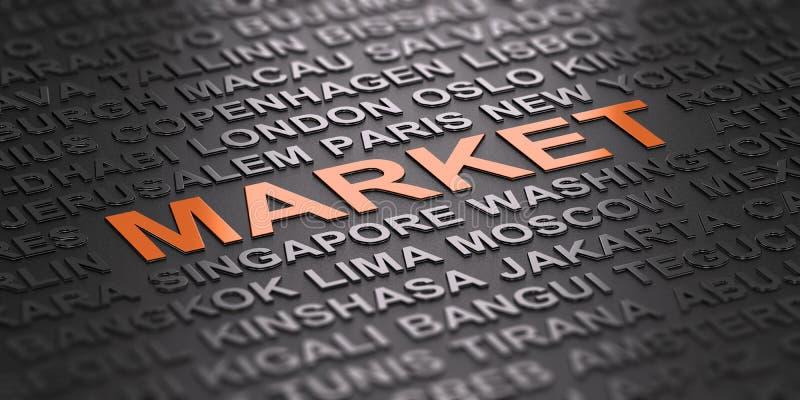 Глобальный бизнес, международные рынки иллюстрация штока