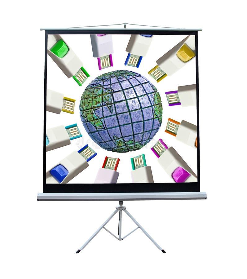 Глобальный экран взаимодействия стоковое фото