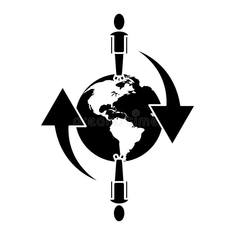 Глобальными коммуникационная сеть соединенная людьми вокруг пиктограммы иллюстрация штока