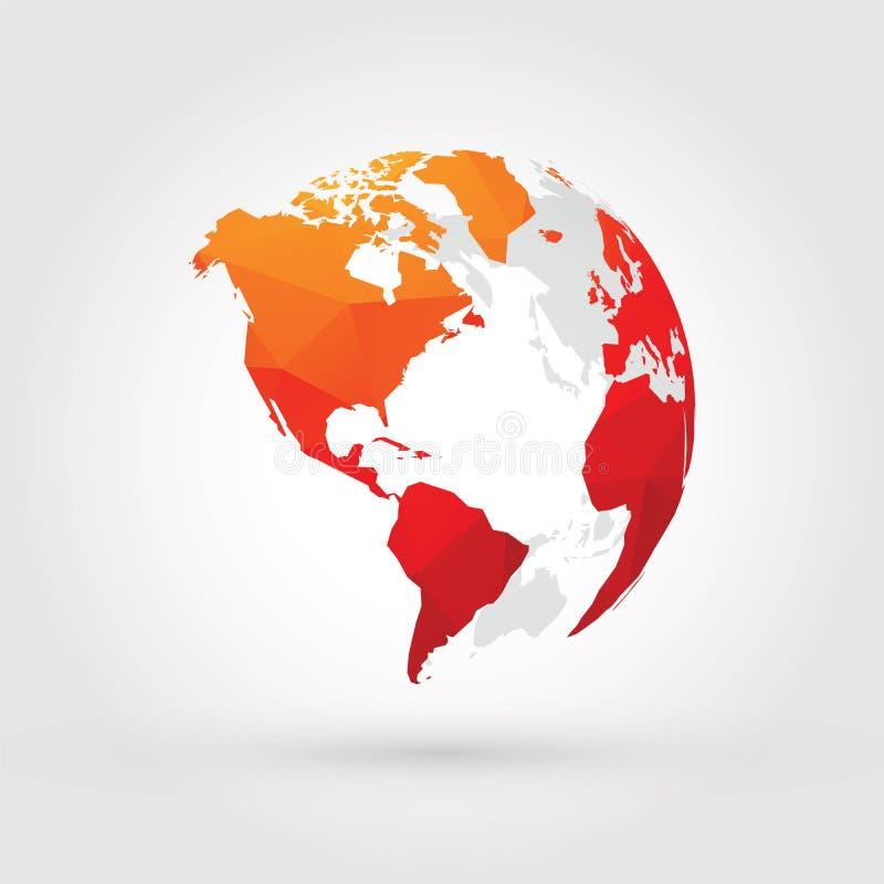 Глобус Америка оранжевого красного цвета иллюстрация вектора