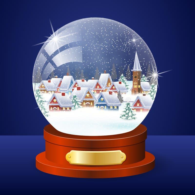 Глобус ландшафта зимы рождества иллюстрация штока