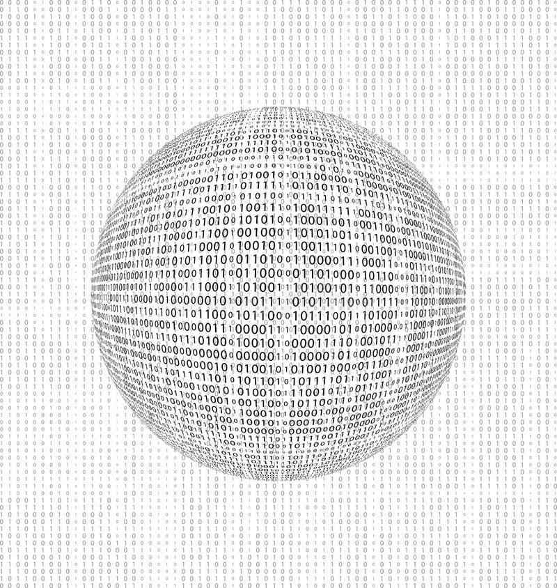глобус бинарного Кода иллюстрация вектора